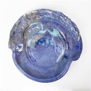 PAUL ALLEN BLUE STONEWARE PLATTER SCULPTURE