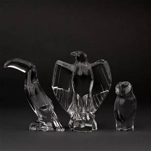 THREE BACCARAT CRYSTAL BIRDS