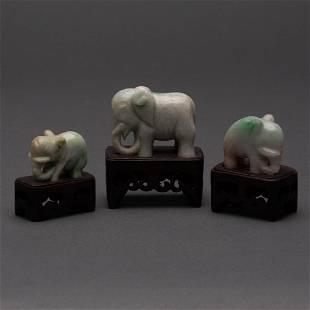 CARVED CHINESE CELADON JADEITE JADE ELEPHANTS 20TH