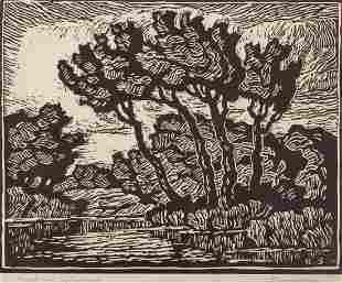 Birger Sandzen 'Brook with Cottonwoods' Signed Linocut