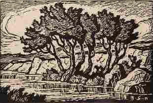 Birger Sandzen 'Kansas Creek' Signed Woodcut