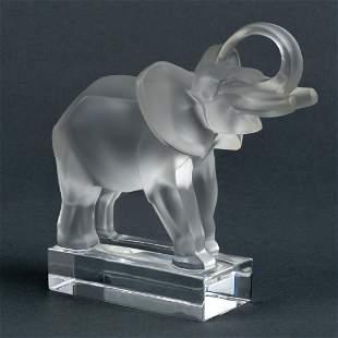 Lalique Crystal Elephant Sculpture