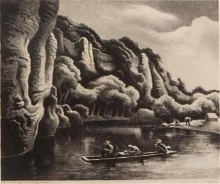 Thomas Hart Benton 'Making Camp' Signed Lithograph