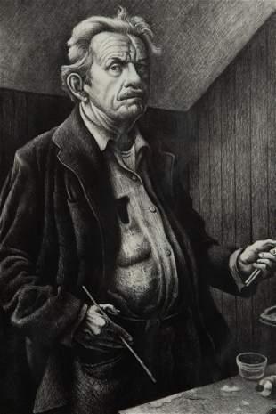 Thomas Hart Benton 'Self-Portrait' Signed Lithograph
