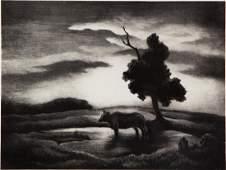 Thomas Hart Benton Sunset Signed Lithograph