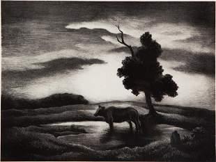Thomas Hart Benton 'Sunset' Signed Lithograph