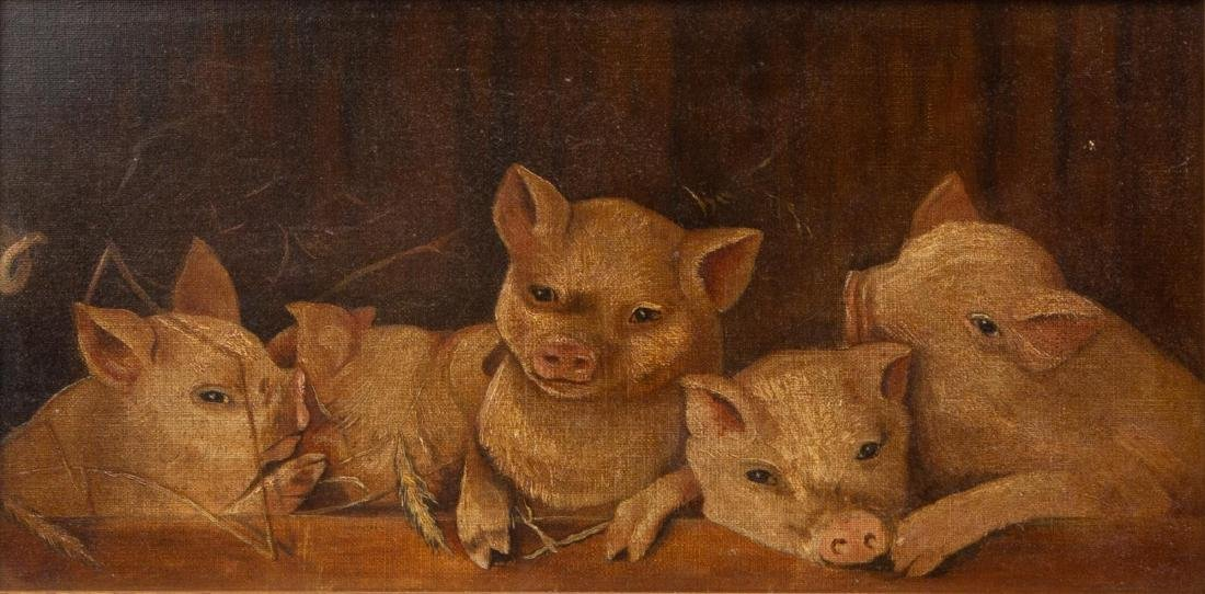 Antique Piglets Oil on Canvas