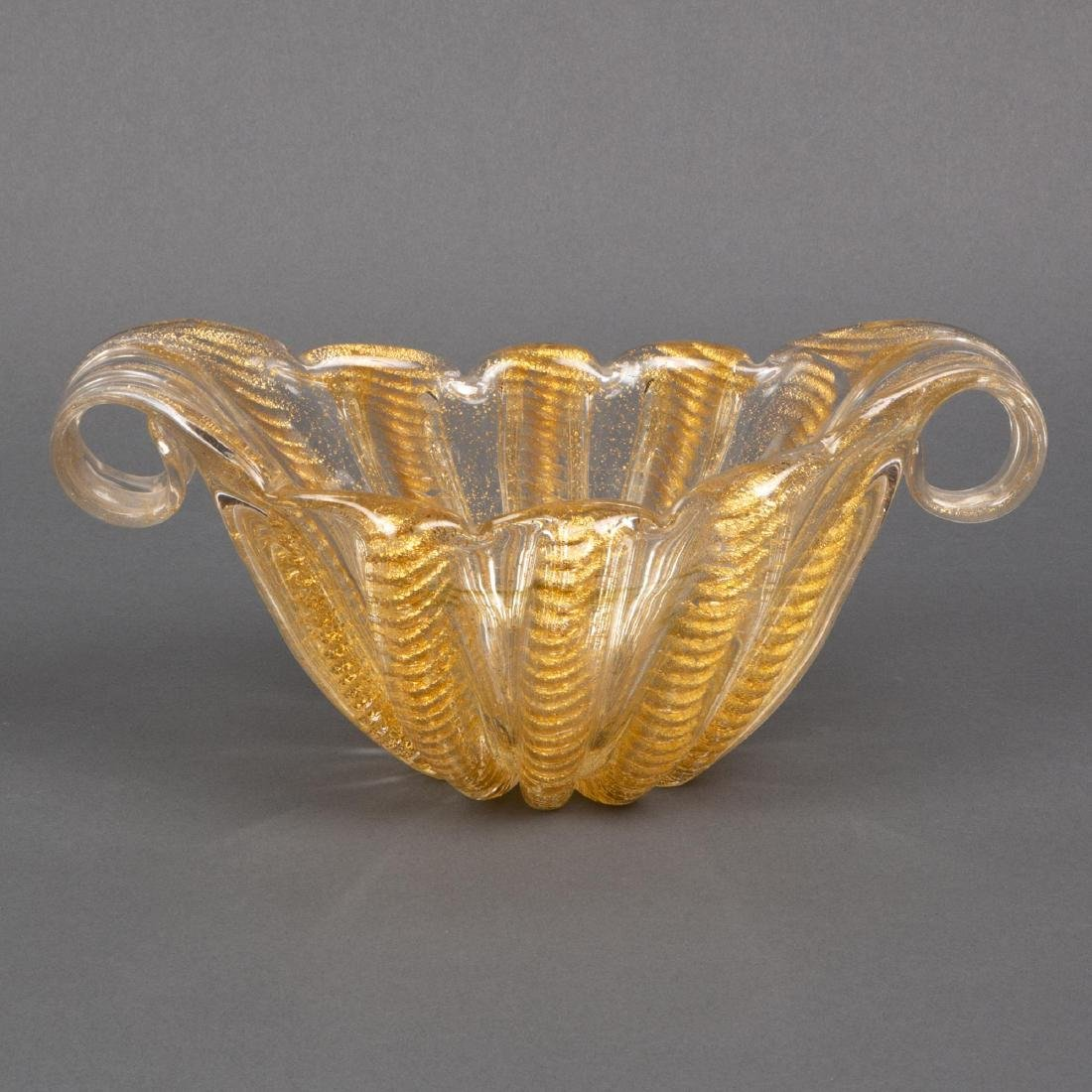 Barovier & Toso Murano Gold-Fleck Art Glass Bowl