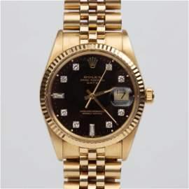 Rolex 14K Oyster Perpetual Date Watch w/Diamond Dial