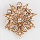 K Goldschmidt 15ctw Diamond  Seed Pearl Brooch