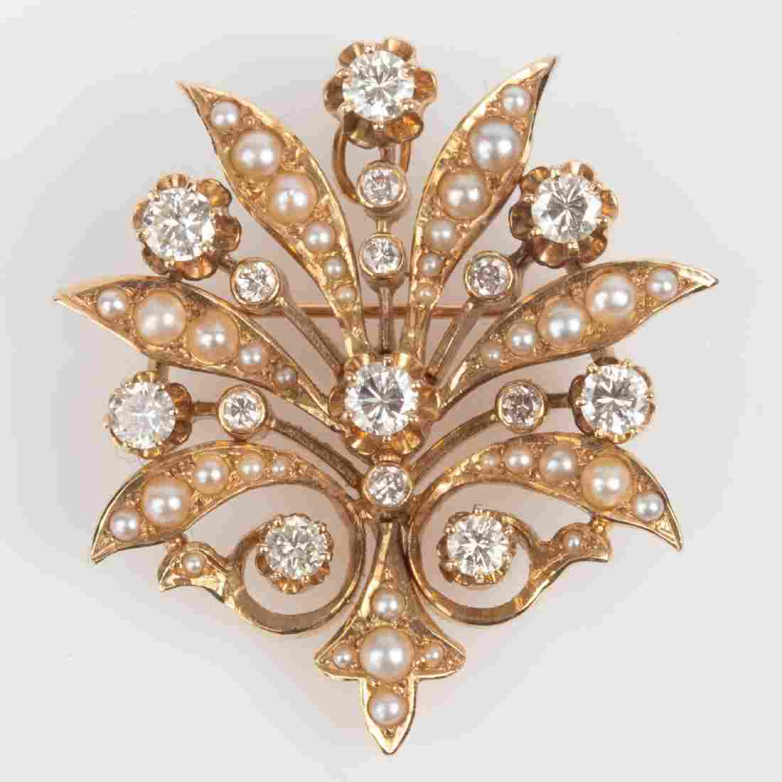 K. Goldschmidt 1.5ctw Diamond & Seed Pearl Brooch /