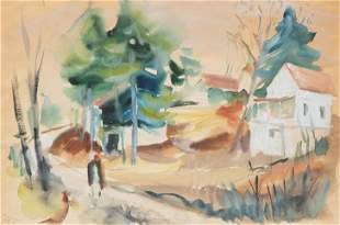 Werner Drewes 'Country Homes' 1935 Watercolor