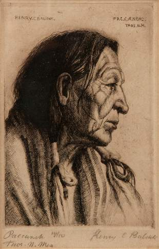 Henry C. Balink Pencil-Signed Etching, Chief Paccaneh