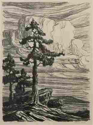 Birger Sandzen 'Colorado Pines' Signed Lithograph