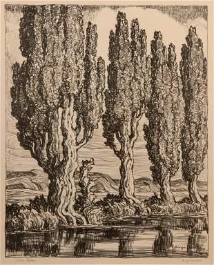Birger Sandzen 'Utah Poplars' Pencil-Signed Lithograph