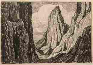 Birger Sandzen 'Sentinel Rock' Signed Lithograph