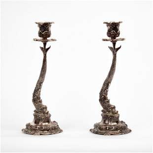 Buccellati Sterling Dauphin Candle Holders, Pair