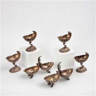 Six Silver Dolphin and Shell Tableware Items