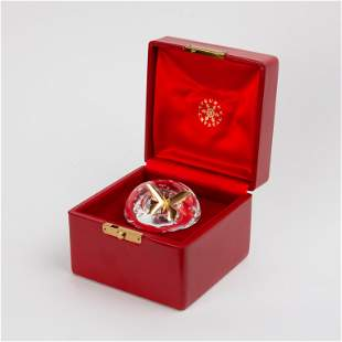 Steuben Crystal Mushroom with 18K Gold Butterfly