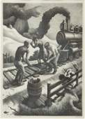Thomas Hart Benton Ten Pound Hammer Signed Lithograph