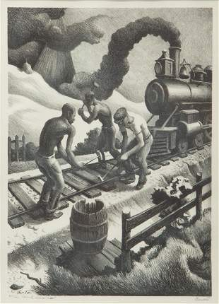 Thomas Hart Benton 'Ten Pound Hammer' Signed Lithograph