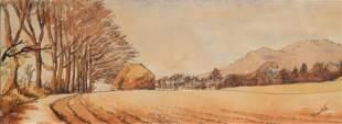 Thomas Hart Benton Original Ink & Watercolor Landscape