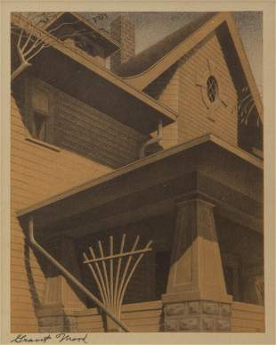 Grant Wood Pencil-Signed 'Main Street Mansion' Offset