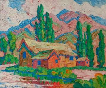 Original Birger Sandzen Oil, 'Utah Farm Barns' (1929)