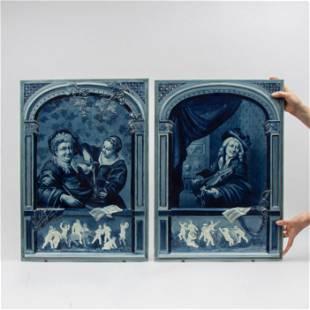 Pair of Large Villeroy & Boch J.B. Stahl Delft Plaques