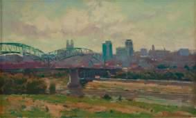 Phil Starke Oil on Canvas, View of Kansas City