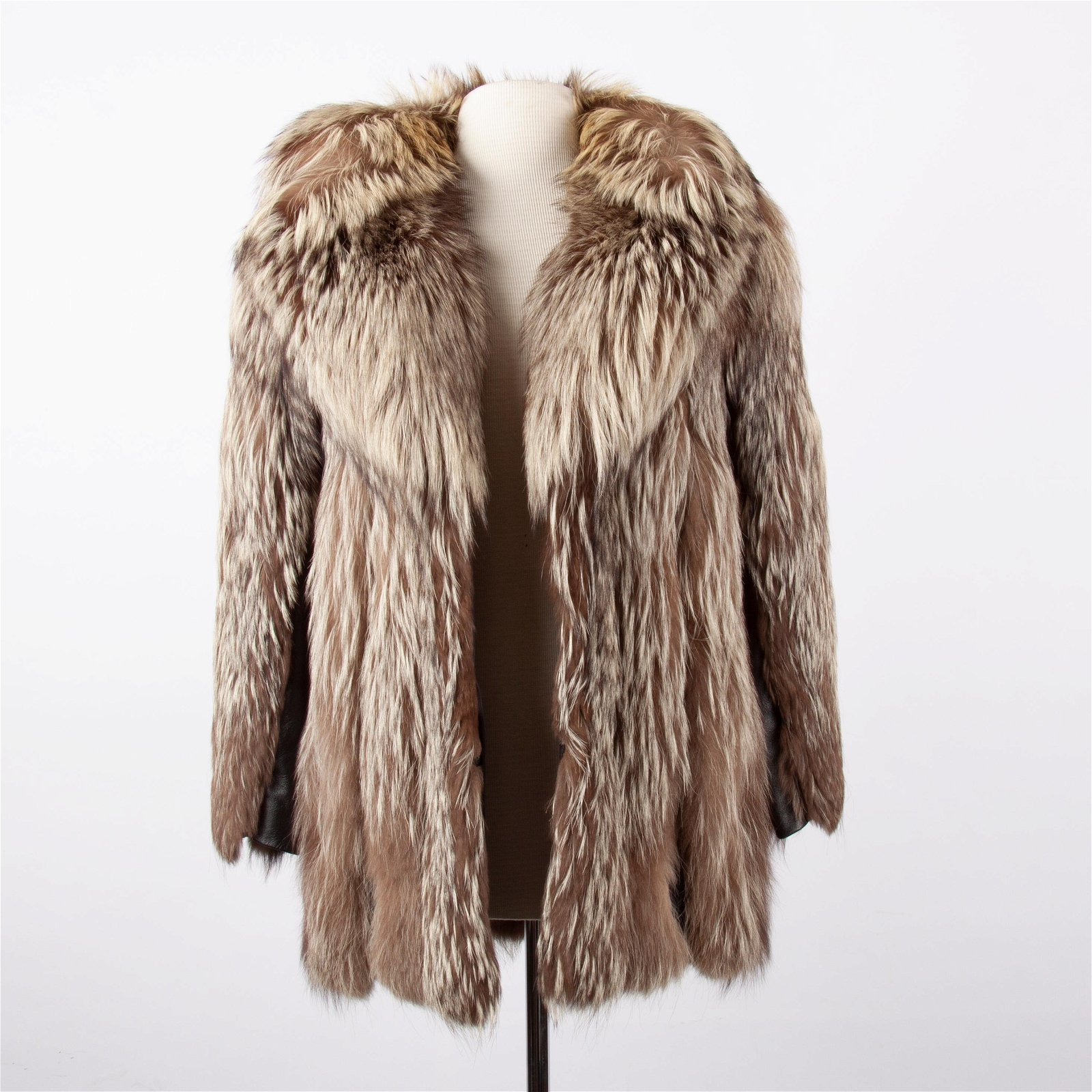 Fox Fur Coat with Black Leather Accents