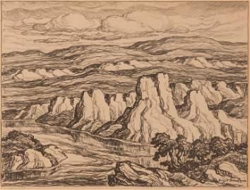 Birger Sandzen 'White Rocks' Pencil-Signed Lithograph