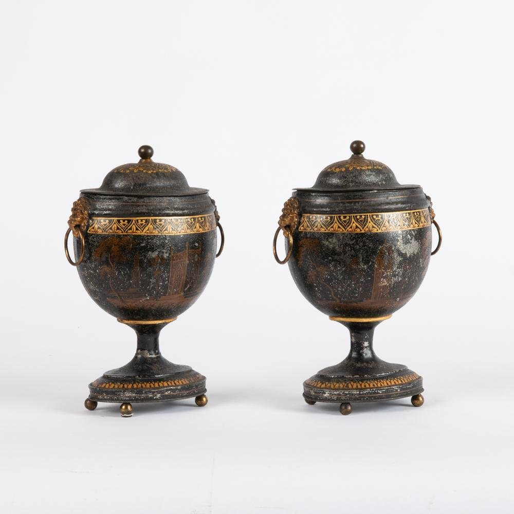 19th c. English Regency Tole Chestnut Urns, Pair