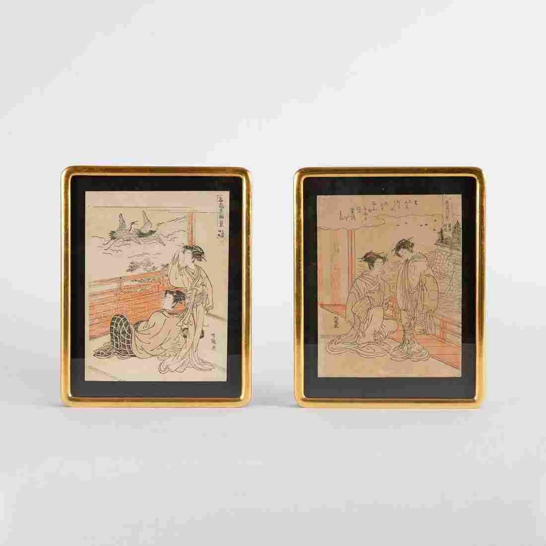Two Isoda Koryusai Ukiyo-e Color Woodblocks