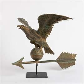 Gilt Copper Hollow Body Eagle Weathervane