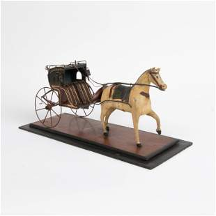 Folk Art Painted Wood and Tin Horse and Carriage