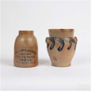 Two Salt-Glazed Stoneware Items, 19th c.