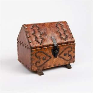Folk Art Leather Wrapped Studded Valuables Box