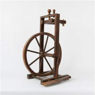 Antique Walnut Carved Spinning Wheel
