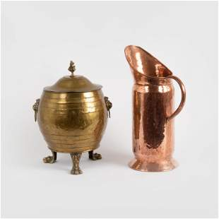 Brass Footed Coal Hod and Hammered Copper Scuttle