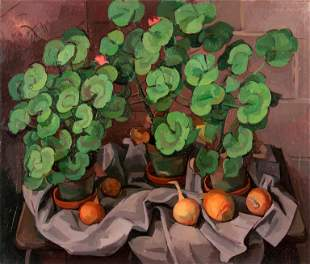 WILBUR NIEWALD / Three Geraniums with Onions (1976 Oil)