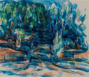 WILBUR NIEWALD / Florence (1970s Watercolor)