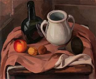 WILBUR NIEWALD / Still Life with White Jar (1979 Oil)