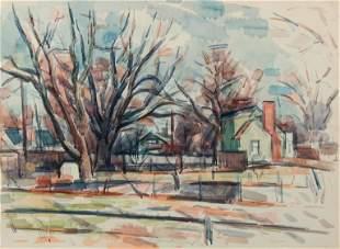 WILBUR NIEWALD / Studio View North (1973 Watercolor)
