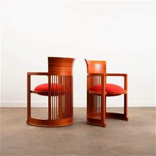 FRANK LLOYD WRIGHT / Two Cassina Taliesin Barrel Chairs