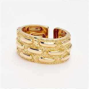 David Webb Textured Cuff Bracelet In 18k Yellow Gold