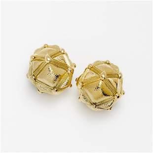 David Webb Geodesic Dome Earrings, 18k