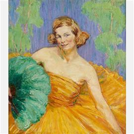 "Agnes Millen Richmond ""Young Woman with Fan"" Oil/Canvas"