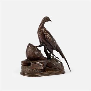 "Jules Moigniez Bronze ""Pheasant on a Rocky Outcrop"""