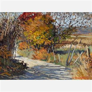 """Robert Daughters """"Country Road"""" 1976 Oil on Canvas"""